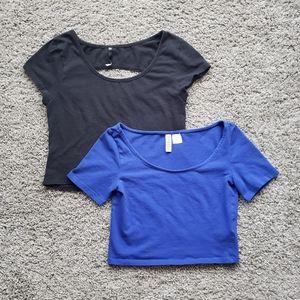 BUNDLE of 2 - Short Sleeve Basic Crop Tops size XS